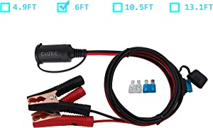 CUZEC 6FT/1.8m 16 AWG Extension Cord Plug Socket with Battery Clamp 12V/ 24V Battery Clip-On and Cigarette Lighter Adapter (6FT Long)