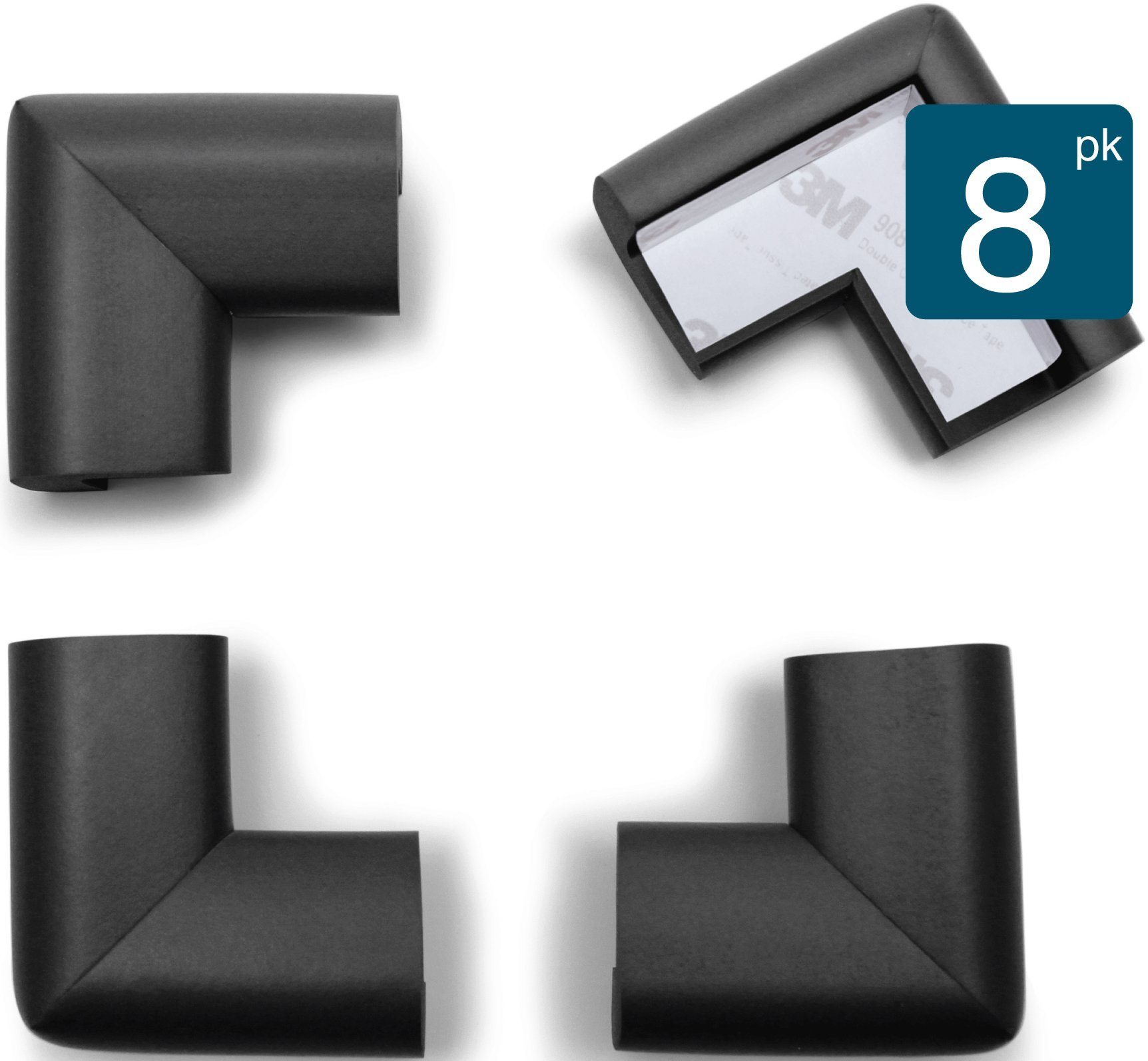 Roving Cove | Baby Proofing Table Corner Guards | Caring Baby Corners | Safe Corner Cushion | Child Safety; Rubber Furniture Bumper Protector | Pre-Taped | 8-Piece Onyx (black)