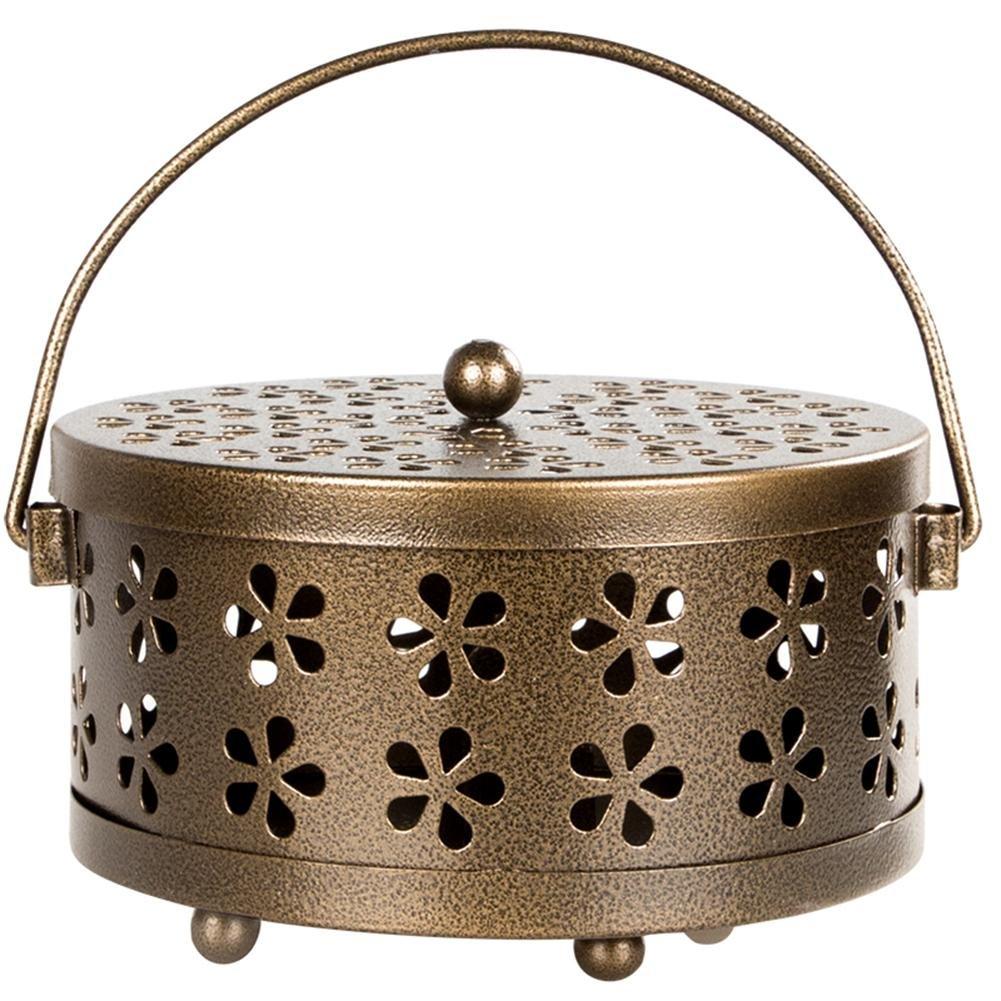 Pretty-Jin Boîte d'aromathérapie Cas de Support de Bobine de Moustique Floral Creux en Métal Bobine Moustique Cas Boîte à encens Brûleur d'encens Boîte d'aromathérapie Aromatherapy Box