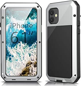 Lilycase Case for iPhone 11 - Military Grade Armor Aluminum Metal Shockproof Drop Rugged Full-Body Tested [Built-in Screen Protector] Protective Cover for Apple iPhone 11 (2019) 6.1 Inch, Silver