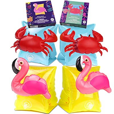 INTVN Beach Swimming Armbands, 2-Pack Flamingo Inflatable Armbands Arm Float Band for Kids Toddlers Over 3 Year Old, 12-30kg for Children Boys Girls Suit The Outdoor Beach Sea Water: Juguetes y juegos