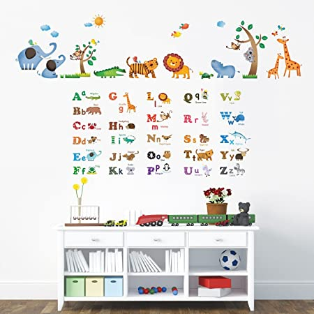 Decowall dw 1206p1308 alphabet and jungle animals kids wall stickers wall decals peel and stick