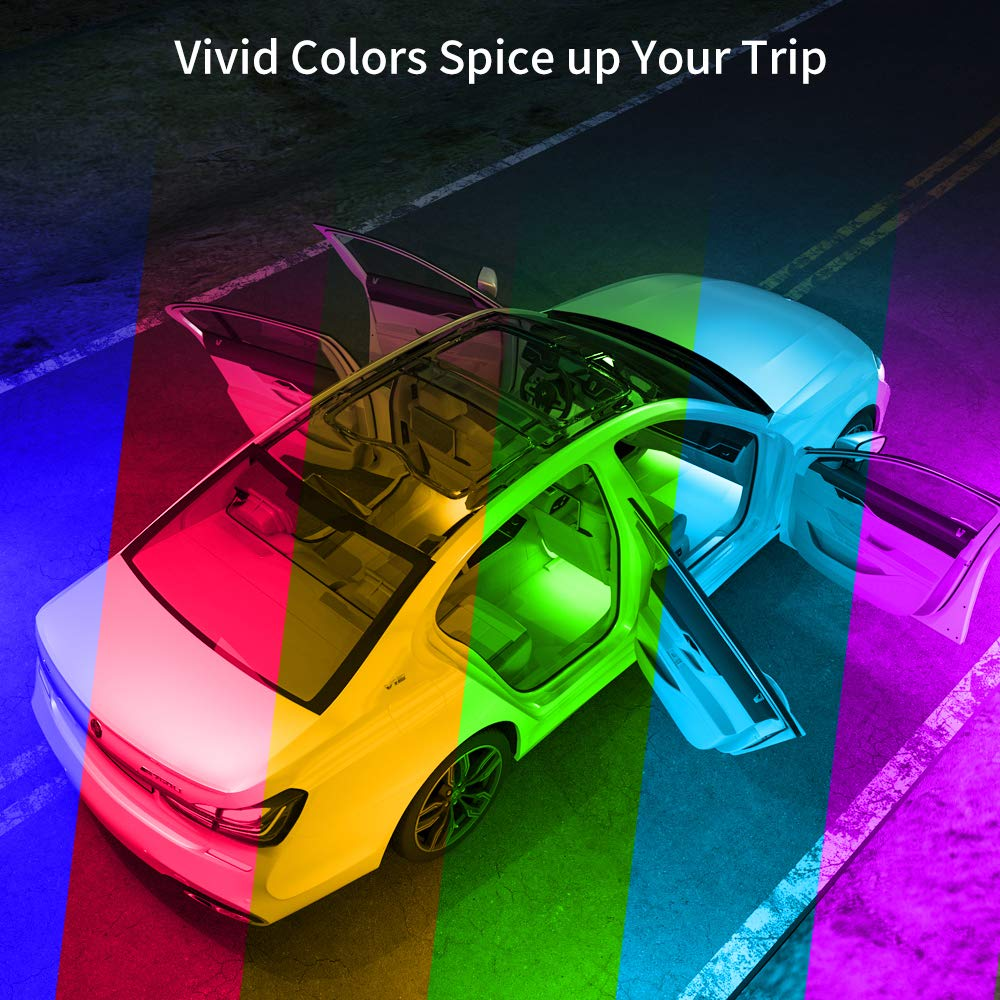 Upgraded 2-in-1 Design Interior Car LED Lights with 32 Colors 48 LEDs Lighting Kit Sync to Music with Super Length Wires for Various Car DC 12V Govee Car Interior Lights with Remote and Control Box
