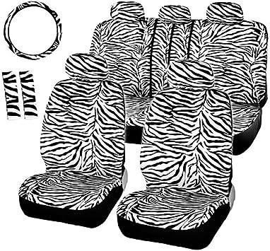 2 Front Black and White Velvet Zebra Seat Covers Universal Size