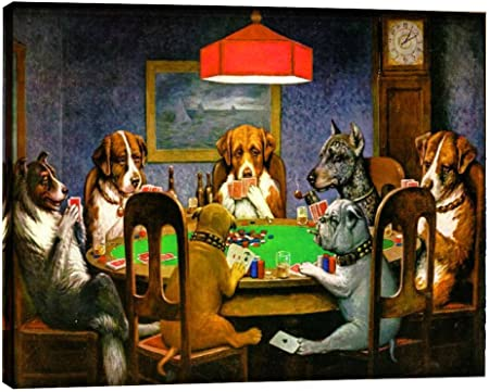 Amazon Com Eliteart Dogs Playing Poker By Cassius Marcellus Coolidge Oil Painting Reproduction Giclee Wall Art Canvas Prints Posters Prints