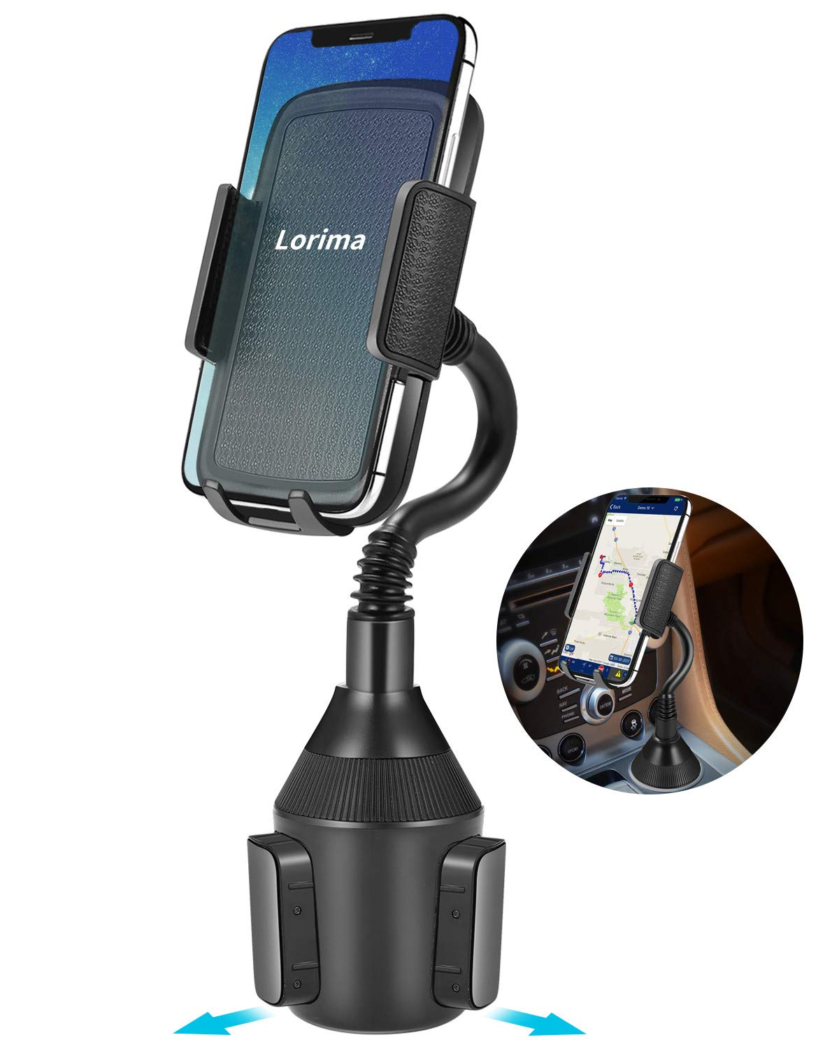 Lorima Car Cup Holder Phone Mount with a Longer Flexible Neck for Cell Phones iPhone Xs/XS Max/X/8/7 Plus/Galaxy