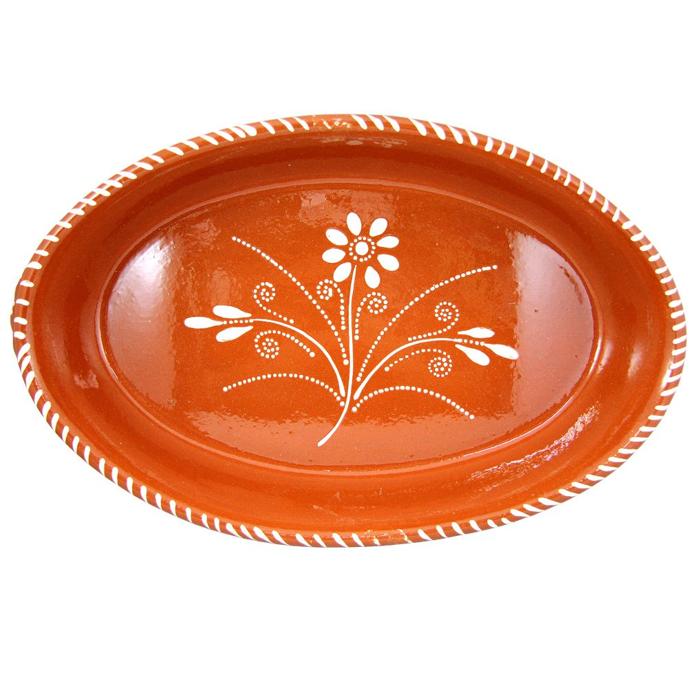 Vintage Portuguese Traditional Clay Terracotta Pottery Oval Casserole Made In Portugal (N.2 15 x 9 1/2 x 2 3/4'')