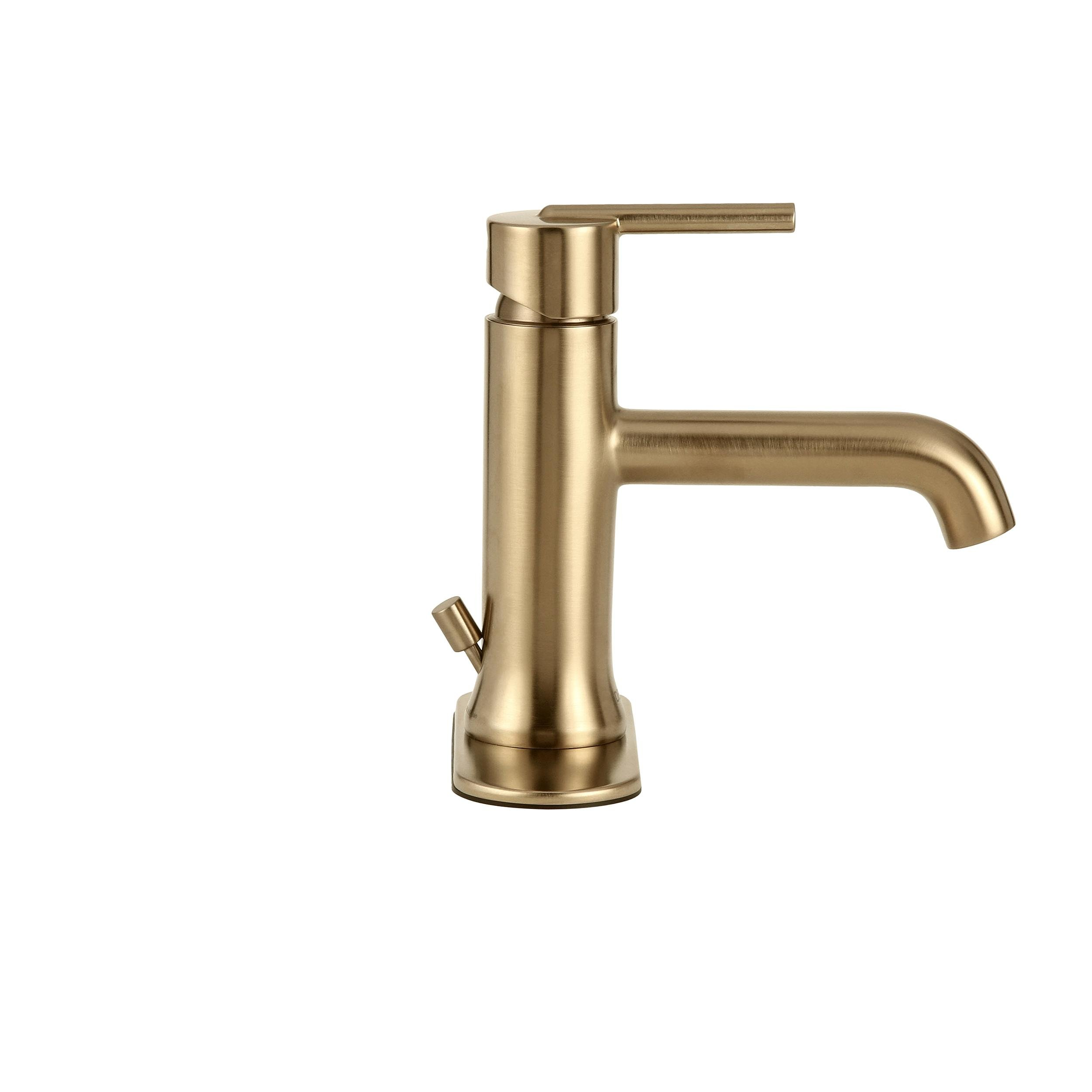 Delta Faucet 559LF-CZMPU Trinsic, Single Hole-Single Handle, 4-Inch plate/metal pop-up, Champagne Bronze by DELTA FAUCET