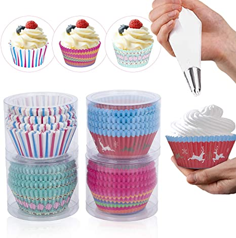 peinat Cupcake Liners,400PCS Disposable Cake Cups 4 Colors Muffin Liners 1.9x3x1.2inch Baking Tools Oil-Proof Paper Cupcake Wrappers Non-stick Plastic Cupcake Container