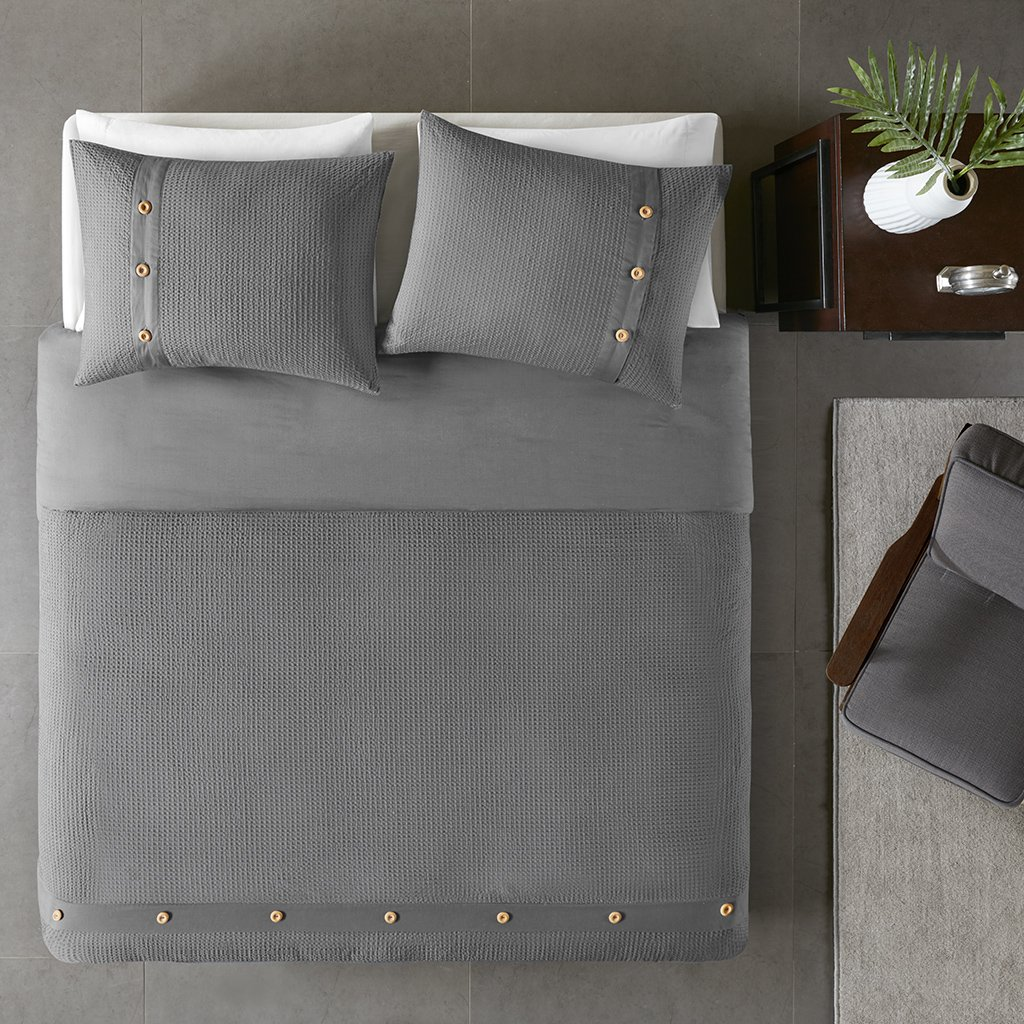 Madison Park Finley 3 Piece Cotton Waffle Weave Duvet Cover Set Grey Full/Queen by Madison Park (Image #2)