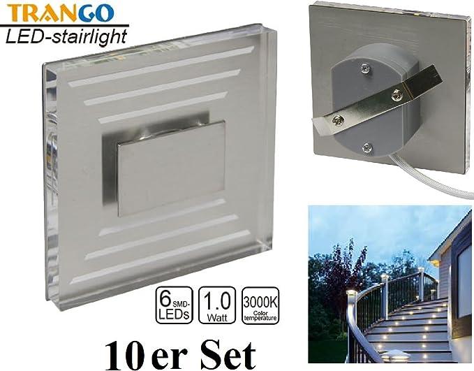 10 focos de escalera, IP44, diseño LED, 230 V, 3000 K, luz blanca cálida, Tgsl 013: Amazon.es: Iluminación