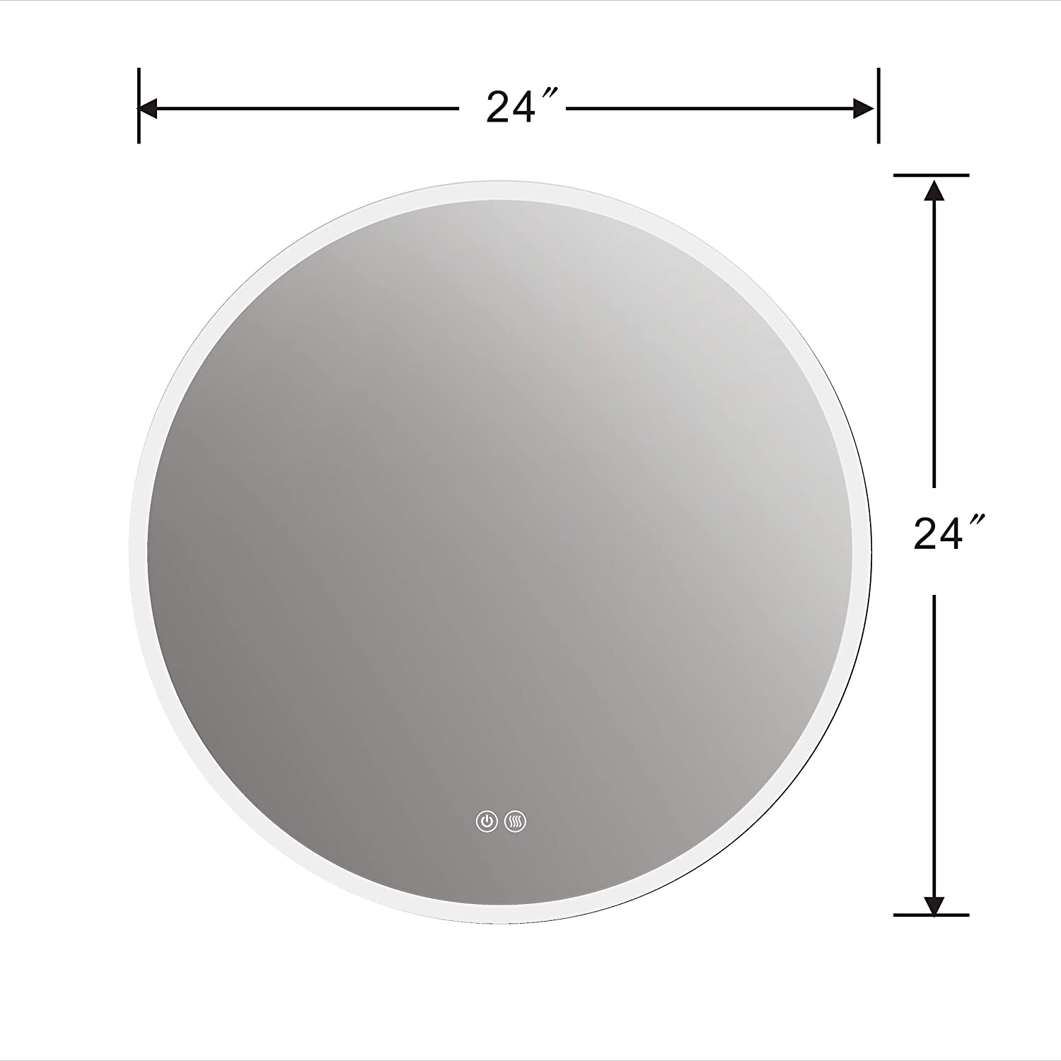 LStripM Bathroom LED Lighting Mirror R24 With Anti-fog Function Wall Mounted Backlit Thickness 5MM Round Dimmable Touch Button 6000k Cold White Makeup Vanity Mirror Over Cosmetic Bathroom Sink