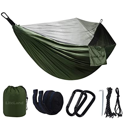 Large Camping Hammock with Mosquito Net - Double Lightweight Portable Parachute Hammocks Gear,Tent Tree Straps,for Backpacking,Survival&Hiking,Travel,Yard Outdoor: Garden & Outdoor [5Bkhe0808461]