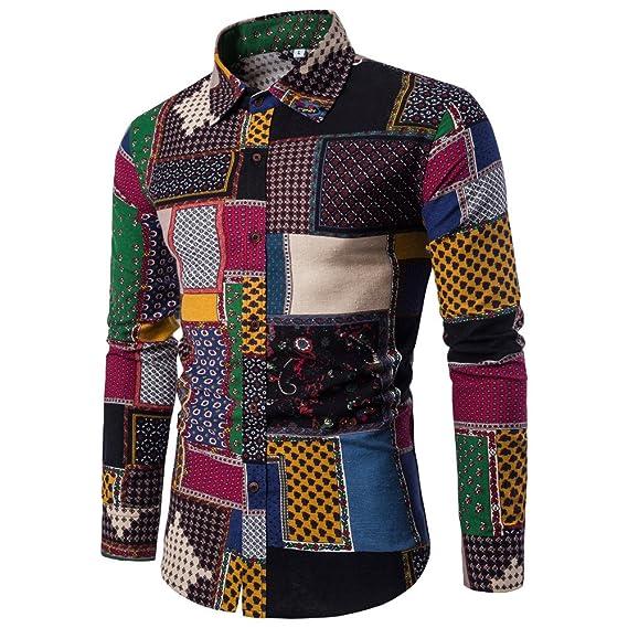 UJUNAOR Männer Lässige Lange Ärmel Hemd Geschäft Slim Fit Hemd Gedruckt Bluse Top Plus Größe