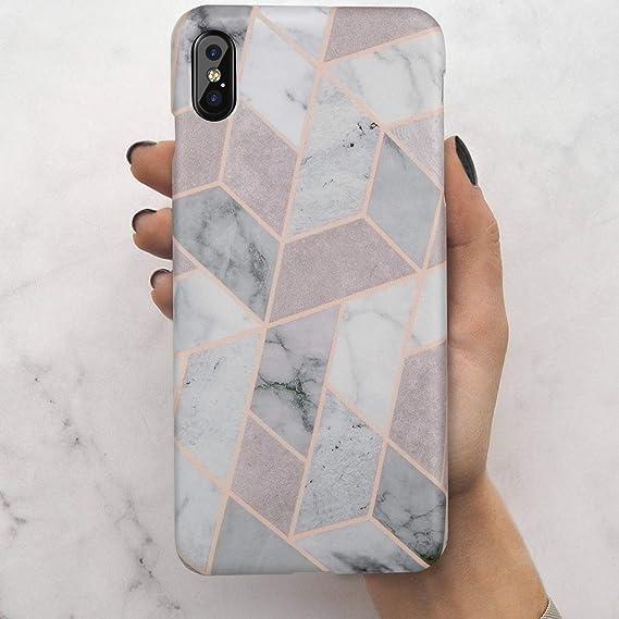 c2d72ed5b4 iPhone Xs Max Case,LUMARKE Cute Geometric Grey Marble for Men Women Girls ,Slim
