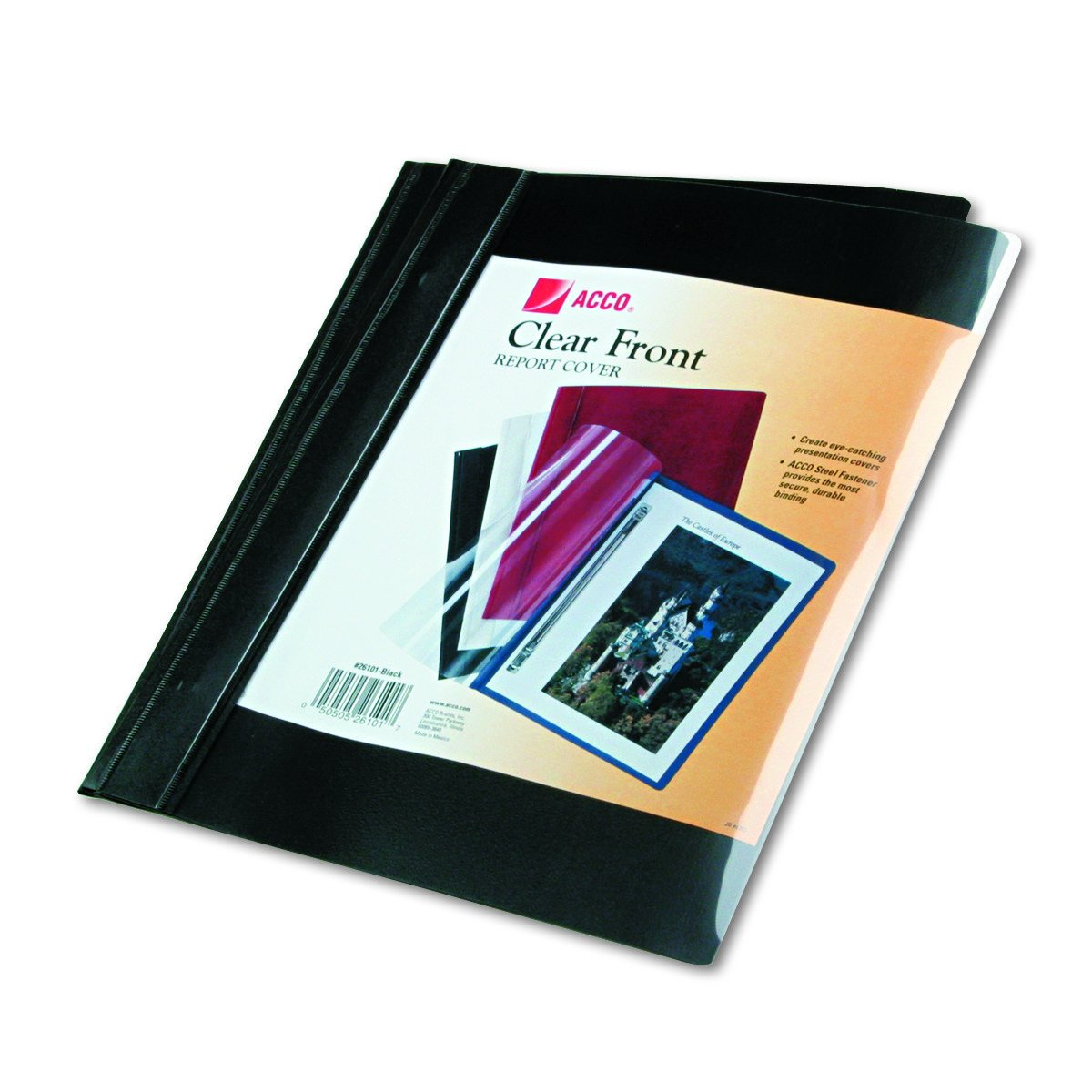 ACCO Clear Front Report Covers, Letter, Black, 10 Pack (26101)