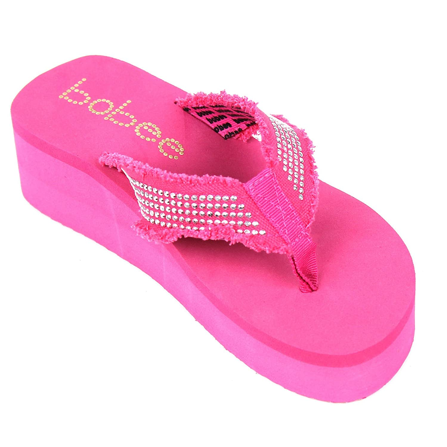 Babe Womens Flip Flops Studded Strap Platform Thongs Sandals Shoes (9, PinkBobee)