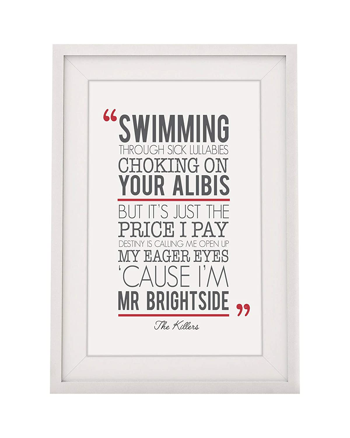 The Killers Mr Brightside Song Lyrics Gift - Framed Print With Mount ...