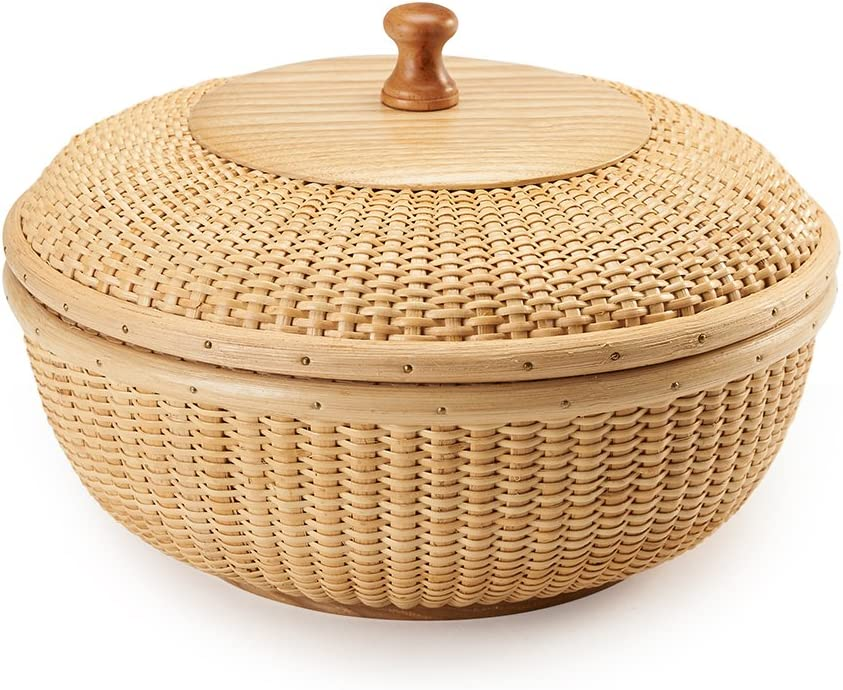 Teng Tian Basket Nantucket Basket Basket Tea Fruit Basket Handicraft Storage Basket Desktop Organizer Woven Rattan Handwoven rattanStorage Basket Set with Lid for Shelves and Home Organizer Bins