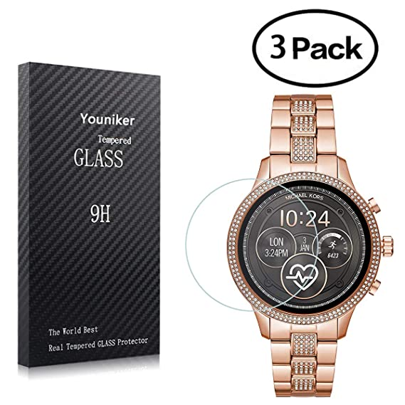 Youniker 3 Pack for Michael Kors MKT5052 Screen Protector Tempered Glass for Michael Kors Access Runway 2018 Smart Watch Screen Protector Foils Glass ...