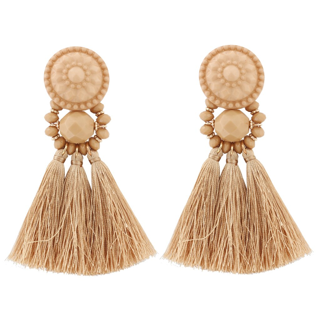 boderier Bohemian Statement Thread Tassel Chandelier Drop Dangle Earrings with Cassandra Button Stud BE6606BR