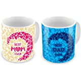 Indibni Best Mom Dad Ever Coffee Mug Set Of 2 330Ml Brown Pink & Blue Ceramic - Gift For Mother Father Mom Dad On Anniversary