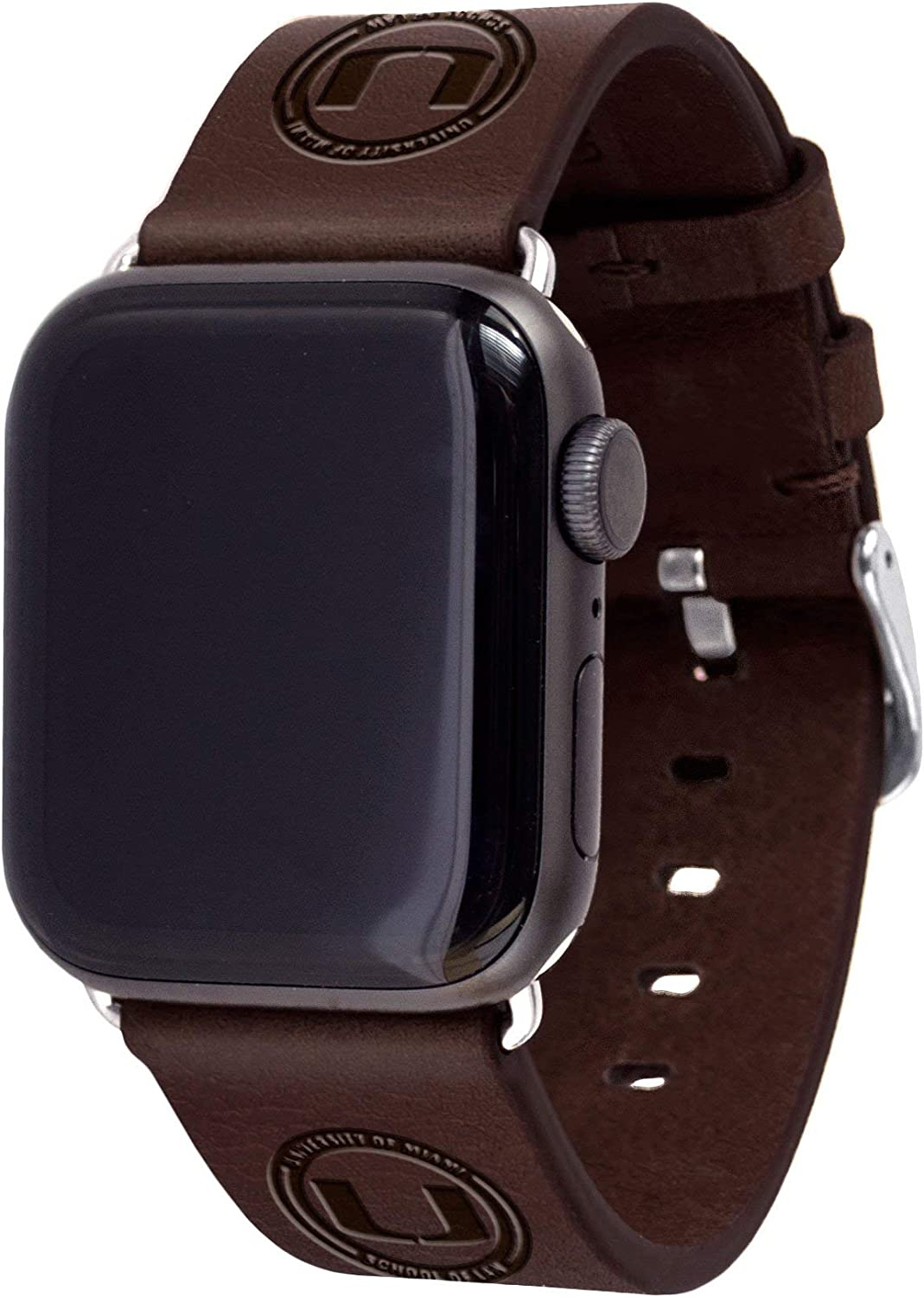 University of Miami School of Law Leather Watch Band Compatible with Apple Watch