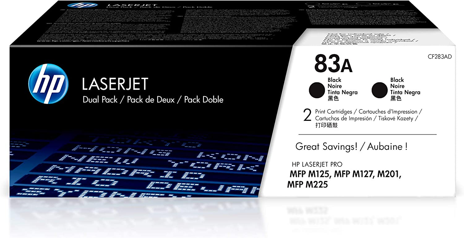 HP 83A | CF283AD | 2 Toner Cartridges | Black: Office Products