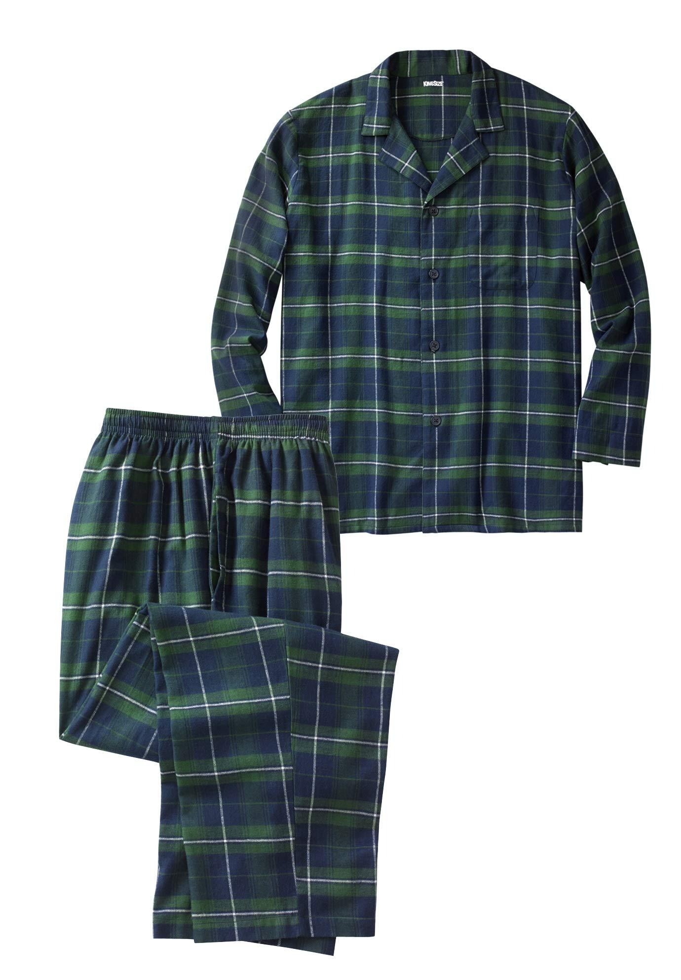 KingSize Men's Big & Tall Plaid Flannel Pajama Set, Balsam Plaid Tall-L