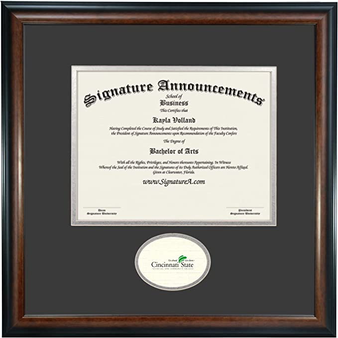 Signature Announcements Cincinnati State Technical Community College Undergraduate Professional Doctor Sculpted Foil Seal Graduation Diploma Frame 16 X 16 Matte Mahogany Home Kitchen Amazon Com