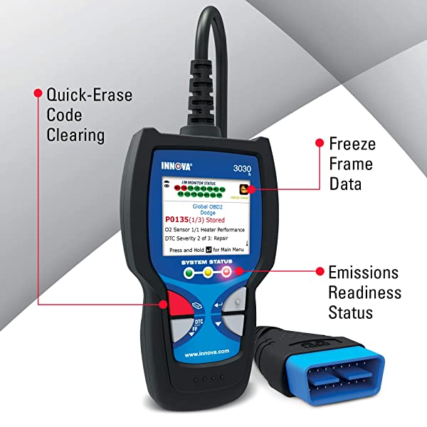 Along with reading and clearing the check engine light, the Innova 3030h offers DTC severity.