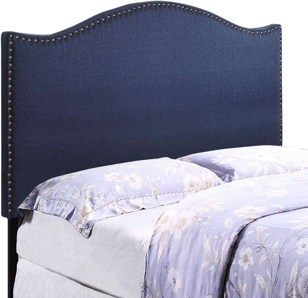 HOME BI Upholstered Curved Shape Linen Fabric Headboard Full Queen Size with Nailhead Trim Blue