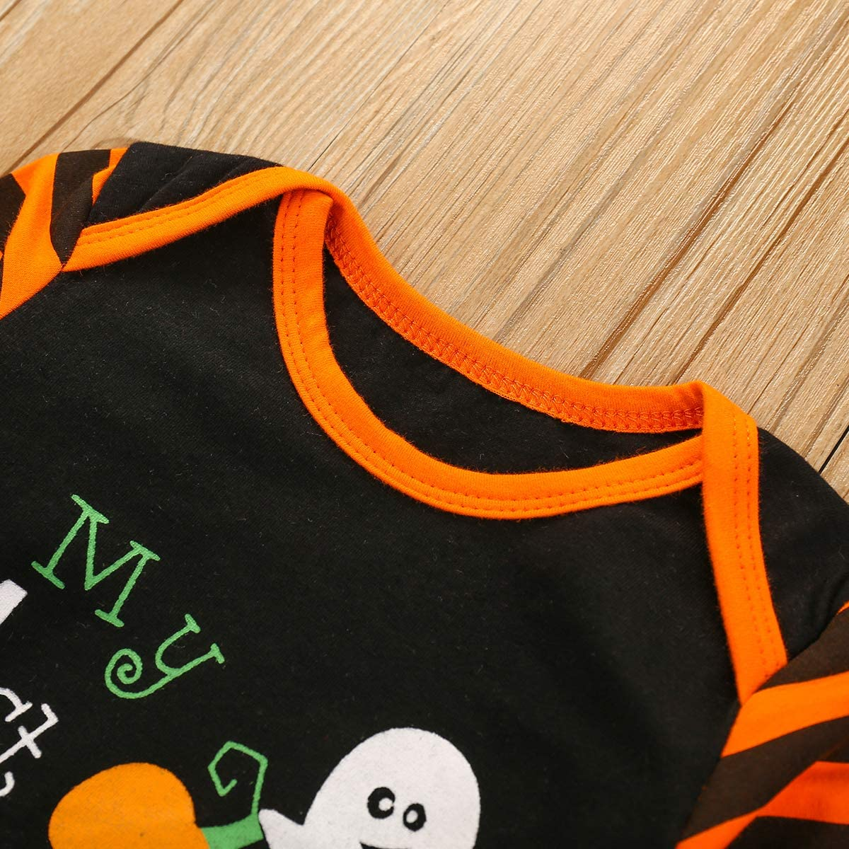 Newborn Baby Girls Boys Halloween Jumpsuit Outfit My First Halloween Romper Stripe Pumpkin Jumpsuit Hat Pajamas Clothes