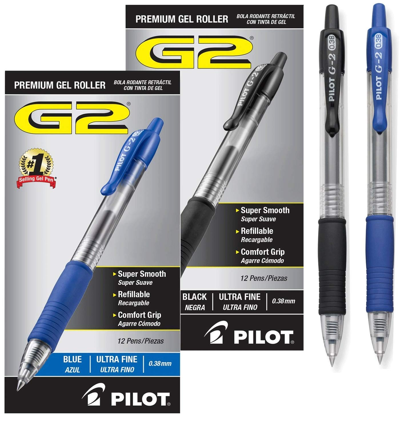 Pilot G2 Retractable Premium Gel Ink Roller Ball Pens Ultra Fine Dozen Box Black ; Retractable, Refillable & Premium Comfort Grip; Smooth Lines to the End of the Page