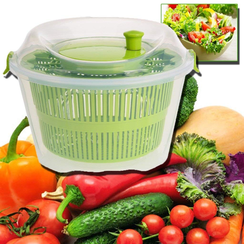 LARGE SALAD LEAF SPINNER DRYER DRYING LETTUCE VEG DRAINER HERB KITCHEN COLANDER PRIMA
