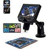 Microscopio Digital USB Android, M.Way HD 1-600x 3.6mp Microscopio LCD Soporte Ajustable y Ampliación Variable con Pantalla de 4,3 Pulgadas (Negro)