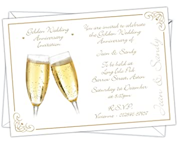 Personalised golden wedding 50th anniversary invitations design personalised golden wedding 50th anniversary invitations design code gwa 006 pack of stopboris Gallery
