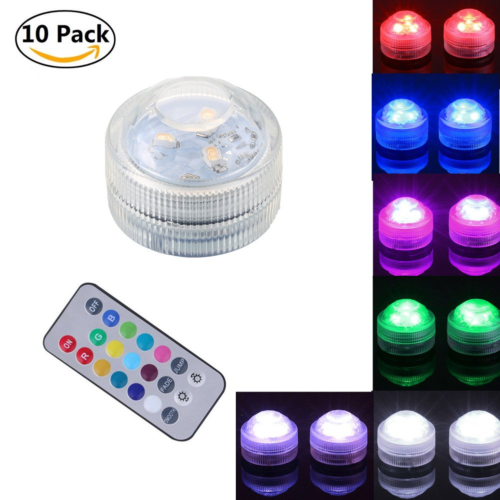 10Pcs Submersible LED Lights, Leagway Multicolor Waterproof Lights, Flameless LED Tea Lights with Remote Control for Party Vase Aquarium Pond Fountain Wedding Christmas Decoration (10Pcs(1 Remote))