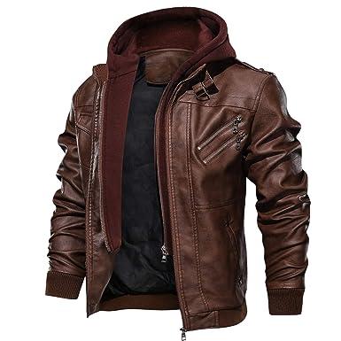 Blouson à capuche Homme Moto Faux En Pu Cuir Zipper Pour