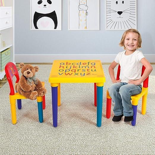 Juego de Mesa y Silla para niños de Ciciys, Mesa de Letras alfabéticas Coloridas, Silla de Actividades para niños Lego, Lectura, Tren, Sala de Juegos de Arte: Amazon.es: Juguetes y juegos