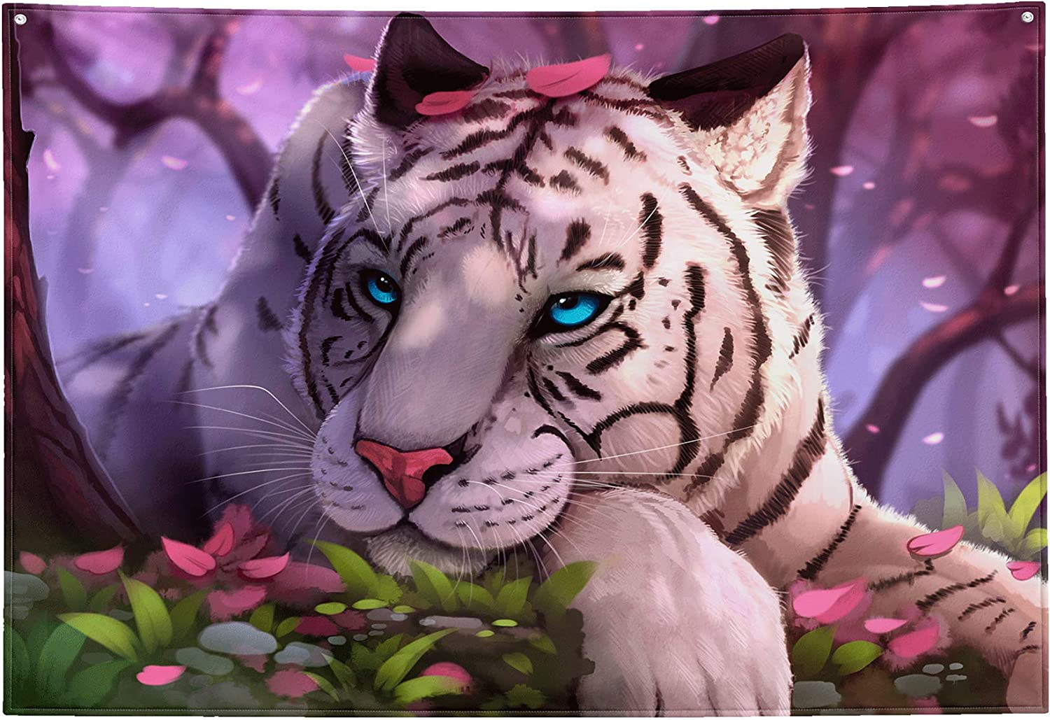 """Tiger Tapestry Wall Hanging, Fantasy White Tiger Blue Eyes in The Forest Oil Painting Art Animal Print Wall Decor Trippy Tapestry for Bedroom Aesthetic Living Room Decoration Extra Large 90""""x60"""""""