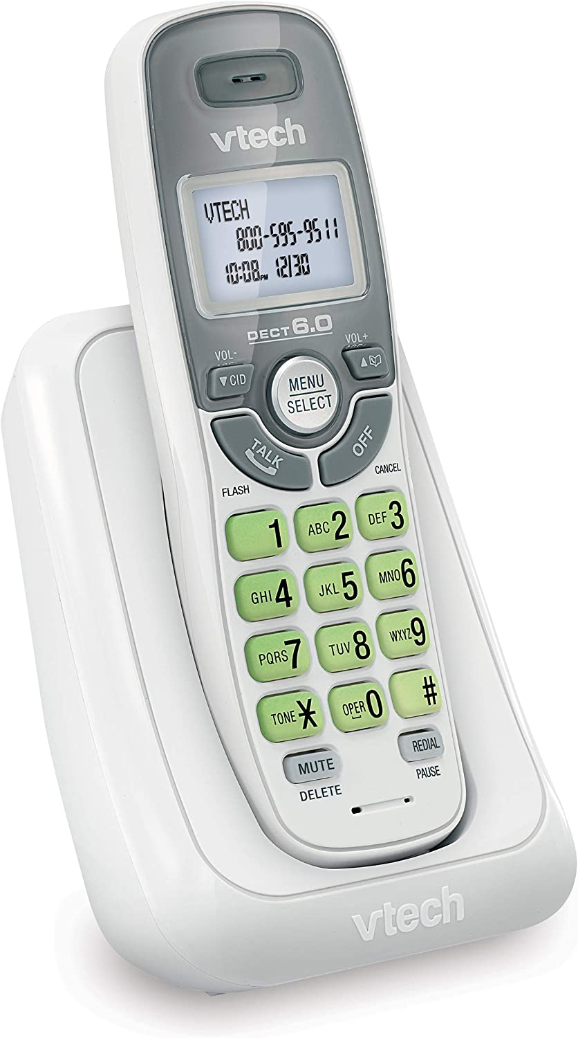 VTech CS6114 DECT 6.0 Cordless Phone with Caller ID/Call Waiting, White/Grey with 1 Handset, 3.50 x 3.50 x 7.00 Inches