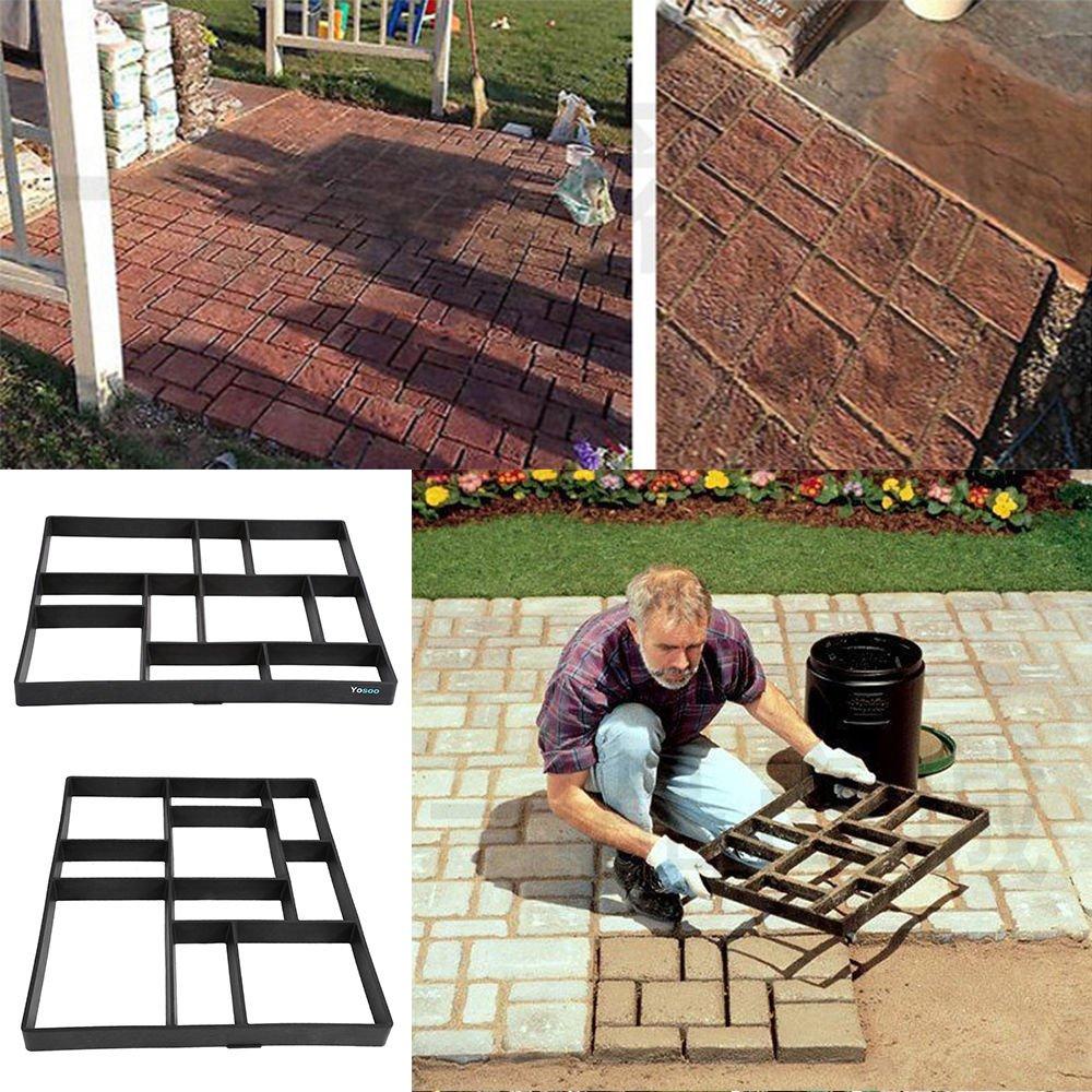 Estink Path Maker Mold,Driveway Pathmate Stone Mold Paving Concrete Stepping Stone Mould Pavement Paver,10 grid