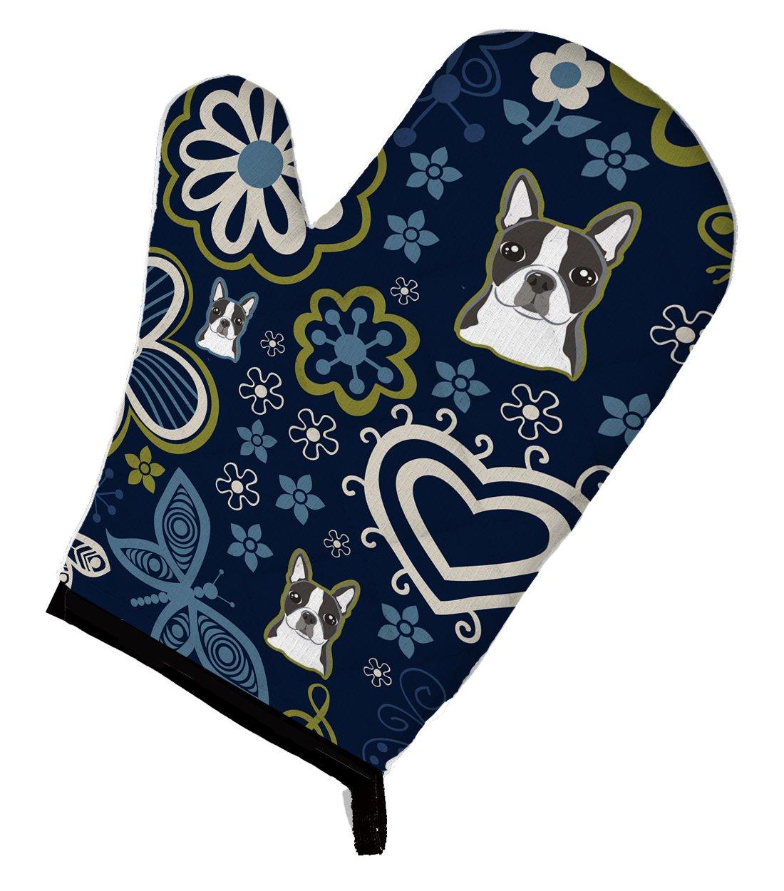 Caroline's Treasures BB5054OVMT Blue Flowers Boston Terrier Oven Mitt, Large, multicolor