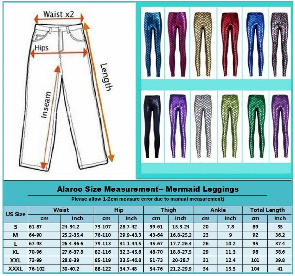 Alaroo Shiny Fish Scale Mermaid Leggings for Women Pants Green Plus 4XL by Alaroo (Image #8)
