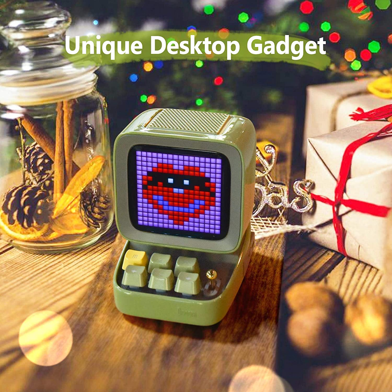 Blue Divoom Ditoo Retro Pixel Art Game Bluetooth Speaker with 16X16 LED App Controlled Front Screen /…