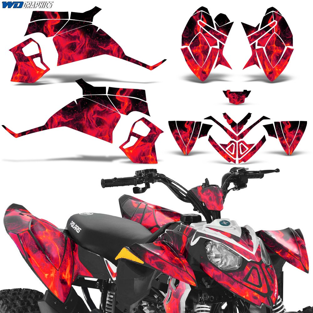 Polaris Outlaw90 Outlaw110 Decal Graphic Kit ATV Quad Graphics Sticker Deco Outlaw 90 110 FLAMES RED Wholesale Decals