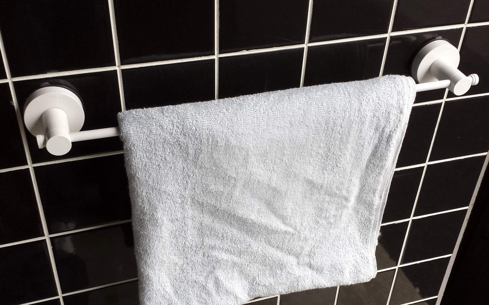 Genexice White Alloy Suction Towel Bar