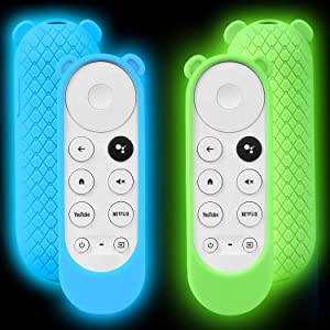 2 Pack Silicone Glowing Case Compatible with Google Chromecast Remote, Shockproof Protective Cover Cute Ear Shape Remote Case Holder Skin for 2020 Chromecast Voice Remote (Glow Green + Glow Blue)