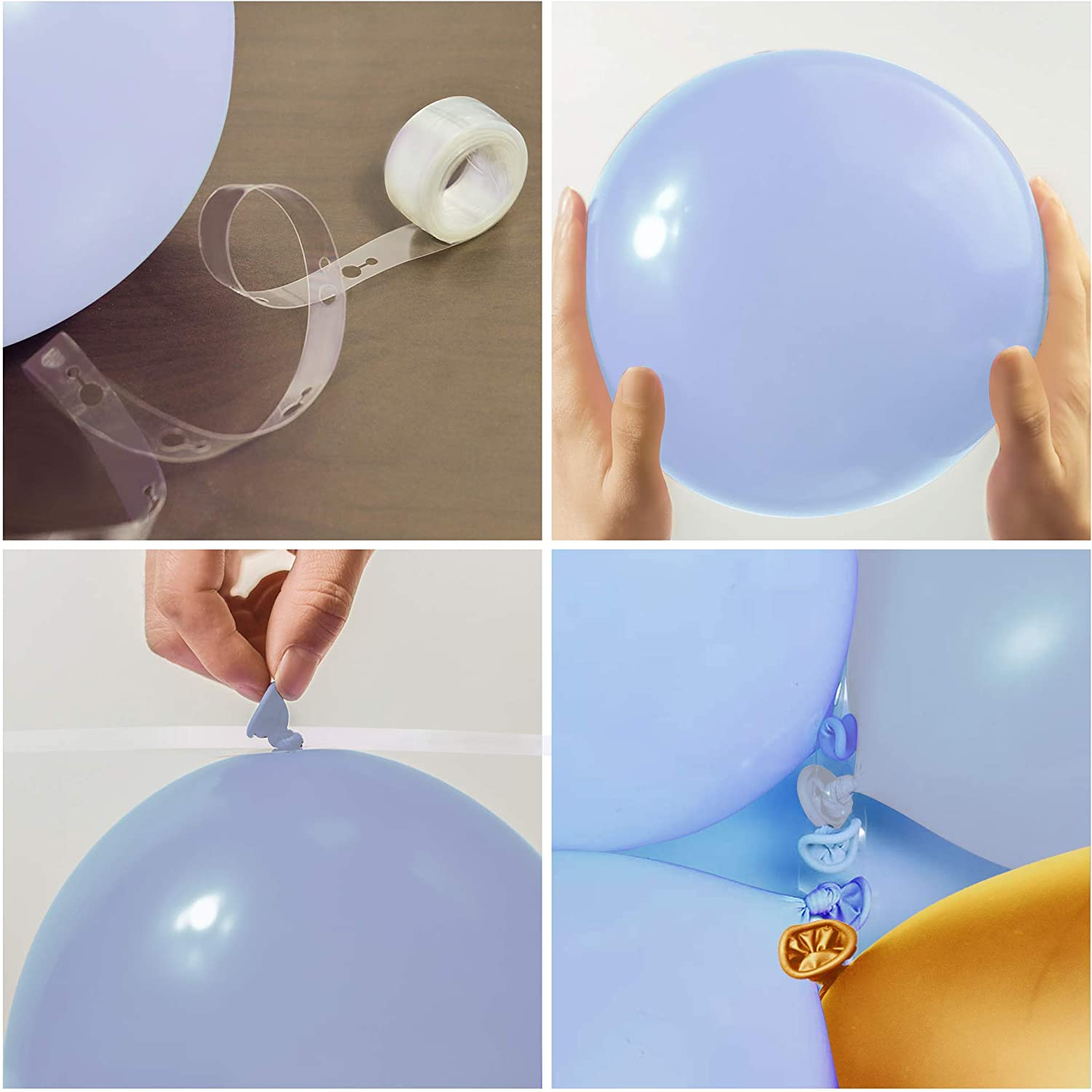 Nalwort Macaron Blue Balloon Kit 135PCS 18In 12In 5In Metallic Gold Balloon Arch Garland For Festival Picnic Family Engagement Wedding Birthday Party Light Blue Theme Anniversary Celebration Decoration